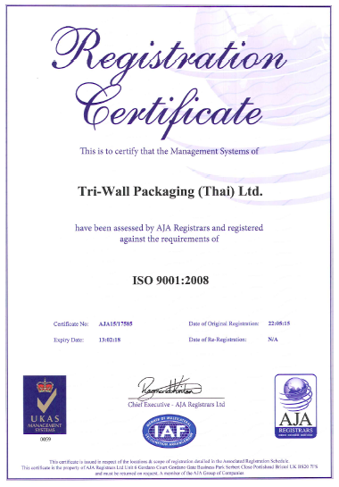 Tri-Wall Packaging (Thai) Ltd ISO 9001 Certificate